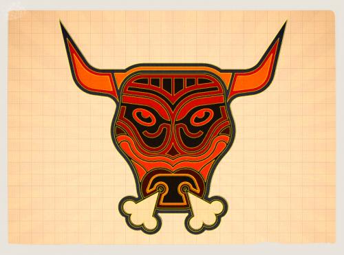 band logo designer london ,uk, club logo,bull badge,London graphic designer ,visualrevolt,nervobull