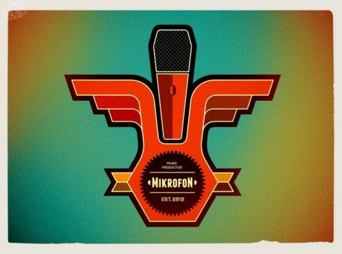 music record company,microphone logos,vintage ,retro style graphic design london