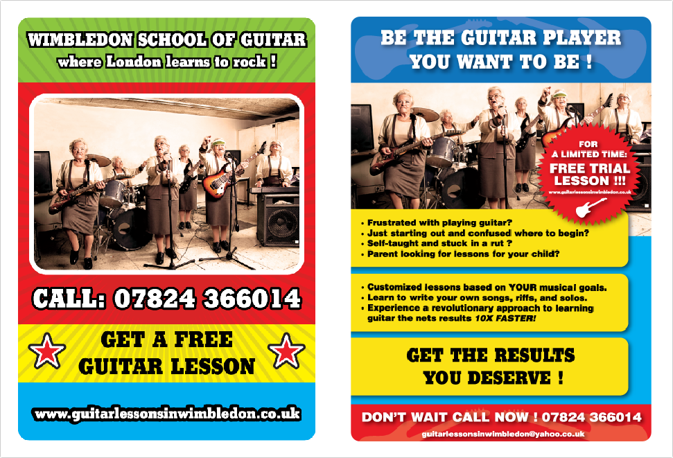 Wimbledon school of Guitar- promotional banner - Logo,Graphic