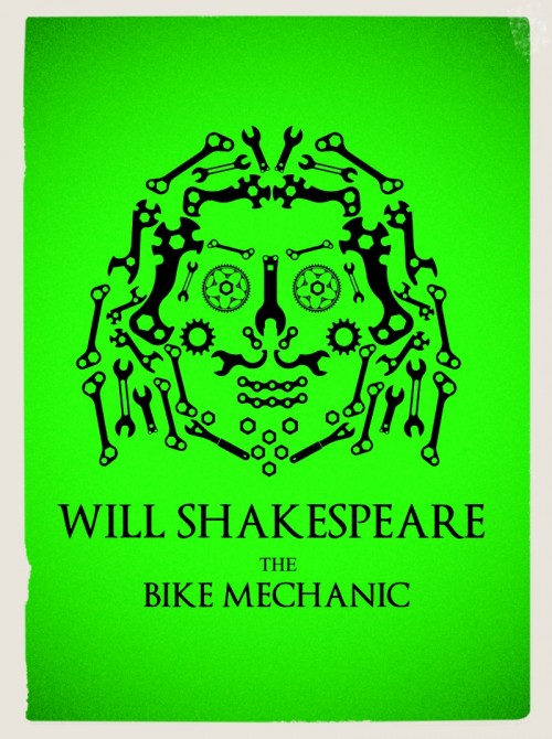 William Shakespeare, logo bicycle, portrait, visualrevolt,bicycle tools,graphic designer Wimbledon,London