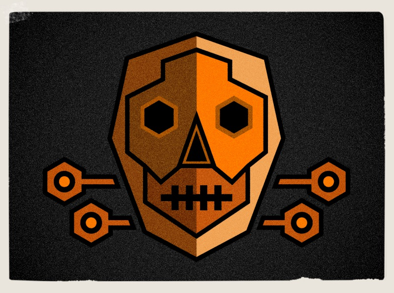 Computer game team players logo designer ,skull graphic style