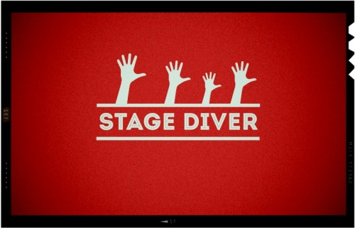 stage diver logo for events company,graphic designer london,signage design wimbledon