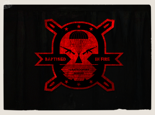 baptised in fire,vintage style logo ,badge,patch for paratroopers squad