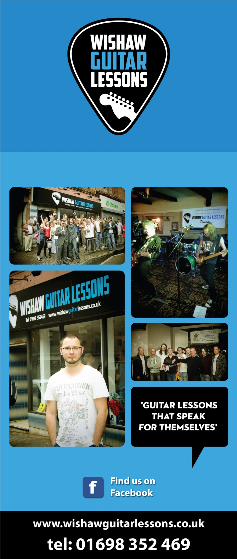 guitar lessons banners, logo ,graphic designer london