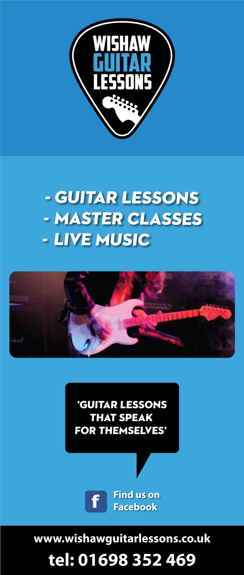 roll up banner  guitar lessons in wishaw, graphic designer london