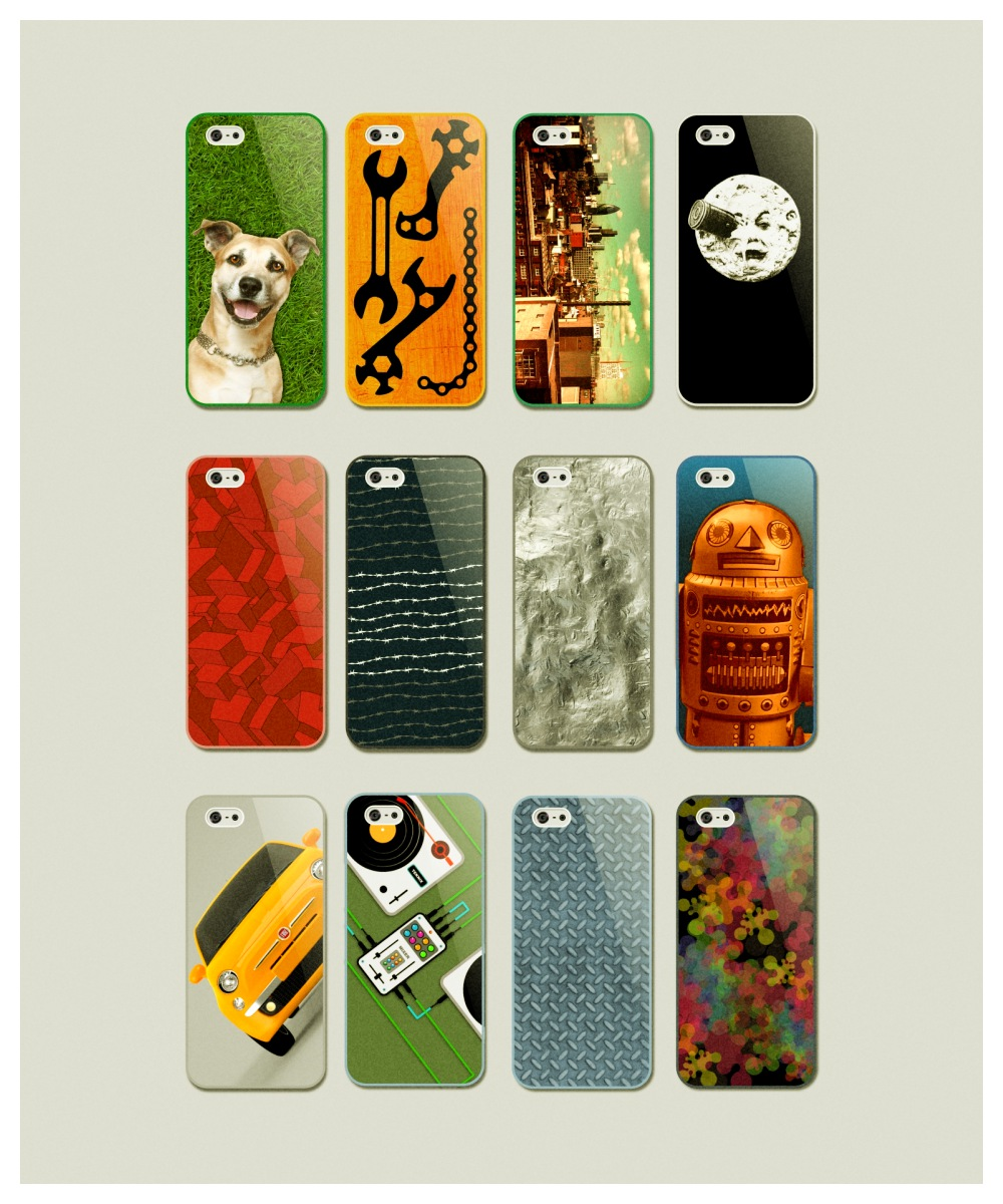 ... set of Iphone 5 protective cases covered with custom graphics